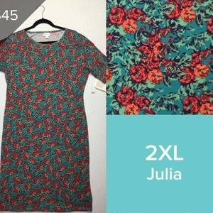 🌹 LulaRoe LLR Julia fitted dress Roses sz 2xL